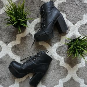 Shoes - Lace High Heeled Boots